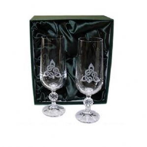 1 Pair Celtic Triangular Knot Champagne Flutes